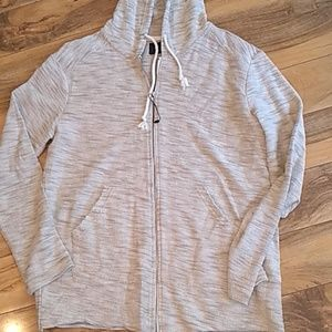 Zara Man raw hem zip-up hoodie. Tan XL